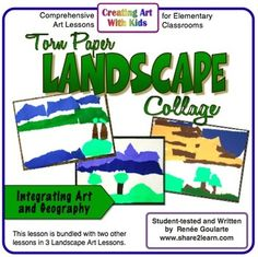 Torn Paper Collage Landscape - geography-related art lesson using shape, color, and negative space