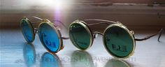 40s Clip On Steampunk Yellow Celluloid Round Vintage Sunglass Clip on Sunglasses Non RX Blue Green Glass Lenses