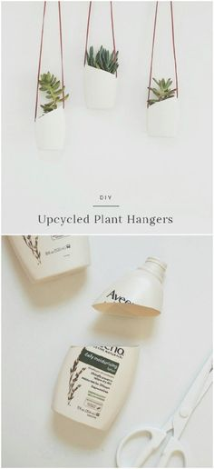 20 Cheap And Easy DIY Hanging Planters That Add Beautiful Style To Any Room - U. - 20 Cheap And Easy DIY Hanging Planters That Add Beautiful Style To Any Room – Upcycled Plastic Bottle Hanging Planters – Upcycled Crafts, Upcycled Home Decor, Diy And Crafts, Recycled Decor, Diy Upcycling Projects, Diy Projects Recycled, Diy Crafts Cheap, Recycling Ideas, Reuse Plastic Bottles