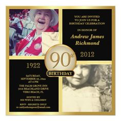 90th Birthday Invitations Then & Now 2 Photos