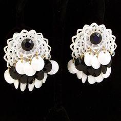 Vintage 1960s Cluster Earrings Black White Dangle by Revvie1, $12.00