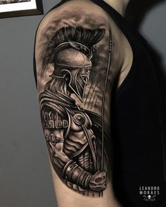 """Come back with your shield, or on it. Warrior Tattoo Sleeve, Viking Tattoo Sleeve, Shoulder Armor Tattoo, Warrior Tattoos, Badass Tattoos, Viking Tattoos, Body Art Tattoos, Hand Tattoos, Men Tattoo Sleeves"