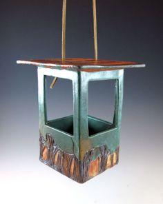 Pottery Bird Feeder - Ceramic Garden Art - Bird Art - Green - 593