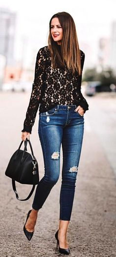 #fall #outfits  blue faded distress jeans