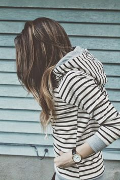 Very similar to the terry hoodie from Market and Spruce received in Stitch Fix #5... love the thin stripes, fitted sweatshirt style!