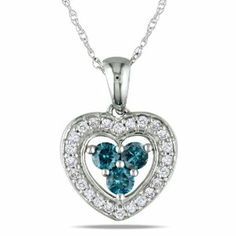 10k White Gold 1/3 CT TDW Blue and White Diamond Fashion Pendant With Chain (G-H, I1-I2) Amour. $339.99. Save 50%!