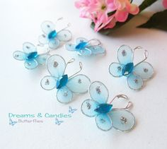 6 Mini Baby Blue Butterfly Applique Accessories by dreamsncandies, $3.00