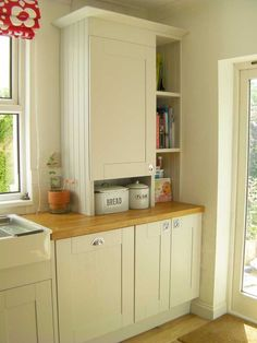 We desperately need to cover our boiler in the kitchen without blocking the window on the left hand side of the house! This would be perfect design idea. Kitchen Window Shelves, Kitchen Cupboards, Kitchen Storage, Book Shelves, Updated Kitchen, New Kitchen, Kitchen Decor, Kitchen Ideas, Hidden Kitchen