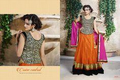 Beautiful Orange, Black & Pink Lehenga Choli, designer wear 2015, wedding collection, buy designer lehenga online, online shopping, indian wedding