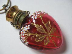 Antique 1800s VICTORIAN Red Glass Heart & Gold Enamel Floral Spray CHATELAINE Perfume Poison Flacon Bottle PENDANT