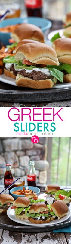 Greek Sliders | Burgers seasoned with Mediterranean flavors & smothered in Tzatziki Sauce | MarlaMeridith.com ( @marlameridith )