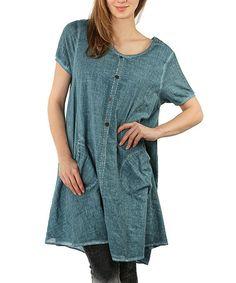 Love this Oil Blue Crochet Scoop Neck Dress - Plus by Zer Otantik on #zulily! #zulilyfinds