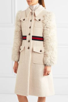 Gucci - Faux Shearling-paneled Cotton-blend Tweed Coat - Ivory - IT