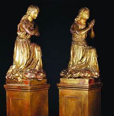 Par de estatuas do sec.17th em madeira talhada a mao e gilded a ouro, 101cm de altura, 24,150 USD / 21,440 EUROS / 82,940 REAIS / 158,960 CHINESE YUAN