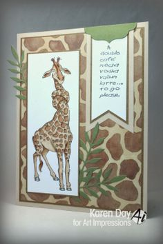 Giraffe Set (Sku #4190) from Art Impresions Zoo Crew line.  Love the matching animal print paper.  Fun card!