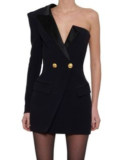 Balmain Crepe & Satin Blazer Dress In Black Black Women Fashion, High Fashion, Luxury Fashion, Womens Fashion, Fashion Quiz, Fashion Top, Fashion Quotes, Cheap Fashion, Mode Chic