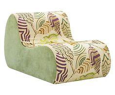 Sillón de lino y algodón Virgola - verde