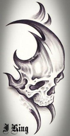 Skull Tattoo Design Tattoo Alien Old School Skull Tattoo Design, Skull Tattoos, Body Art Tattoos, Tribal Tattoos, Tattoo Designs, Tatoos, Pencil Art Drawings, Art Drawings Sketches, Tattoo Drawings