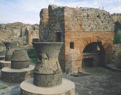 *POMPEII,ITALY ~ Bakery (gold Pistrinum) with millstones for flour, Pompeii (UNESCO World Heritage List, 1997), Campania. Roman Civilization, 1st Century