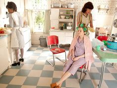 from the movie The Help - retro kitchen with awesome floor, table and chairs.