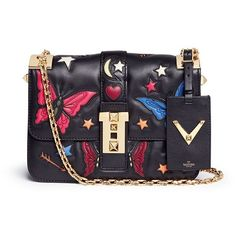 Valentino 'B-Rockstud' butterfly appliqué leather shoulder bag (57.449.595 IDR) ❤ liked on Polyvore featuring bags, handbags and shoulder bags