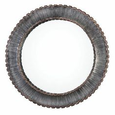Uttermost Tanaina Silver Round MirrorHand forged strips of metal, in staggered lengths and curled at both ends, are used to create this frame. Finish consists of metallic silver with black dry brushing and rust brown edges. Mirror has a generous 1 bevel. Large Round Wall Mirror, Round Mirrors, Glass Mirrors, Large Mirrors, Wall Mirrors, Glass Art, Uttermost Mirrors, Industrial Wall Art, Industrial Loft