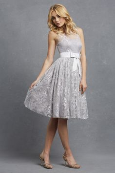 'Libby' dress by Donna Morgan  A delicate bow cinched at the waist creates a fit and flare silhouette, while an illusion neckline with antique lace adds a hint of unexpected. Nylon Antique Lace with Satin Acetate Lining