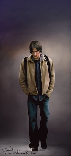 Sam Winchester/Jared Padalecki                         sorrow by ~Blakravell on deviantART