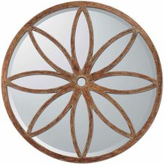 Aged Brown Round Petal Motif Mirror