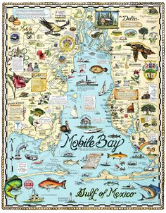 Mobile Bay Local artist's map of Mobile Bay rocks. History and culture on the half-shell! Artist Melissa Smith, Fairhope, ALLocal artist's map of Mobile Bay rocks. History and culture on the half-shell! Artist Melissa Smith, Fairhope, AL Puerto Rico, Cuba, Tennessee, Fairhope Alabama, Dauphin Island, Venice Florida, Mobile Alabama, Island Map, Sweet Home Alabama