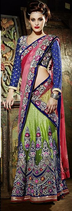 Khazanakart Heavy Embroidery Net and Satin Saree in Pista Green Color