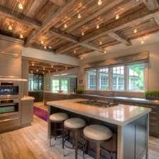 Trendy Kitchen Island With Stove Exposed Beams Kitchen Island With Stove, Kitchen Island Lighting, New Kitchen Cabinets, Wooden Ceiling Design, Wooden Ceilings, Open Ceiling, Ceiling Beams, Beam Ceilings, Porch Ceiling