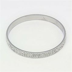 Fashionable 304 Stainless Steel Bangles, With Rhinestone, Stainless Steel Color, 65mm-- Jewelish.com