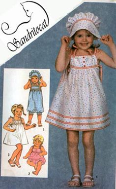 1980s Vintage Sewing Pattern Simplicity 5954 Toddlers Romper, SunDress and Hat Size 1 UNCUT