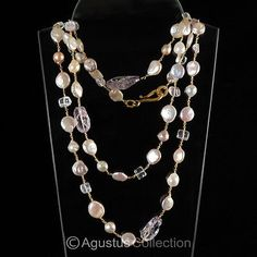 55-NECKLACE-Freshwater-PEARLS-Amethyst-24K-GOLD-Vermeil-925-Sterling-Silver
