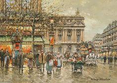 L Opéra, un café de la Paix de Antoine Blanchard (Marcel Masson) (1910-1988, France)