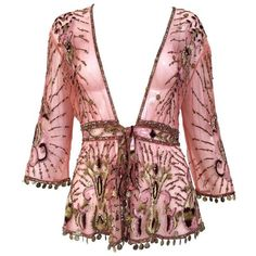 Preowned Beautiful Roberto Cavalli Salmon Pink Silk Mesh Embroidered... ($1,450) ❤ liked on Polyvore featuring tops, cardigans, pink, red cardigan, silk top, 3/4 sleeve cardigan, beaded cardigan and three quarter sleeve tops