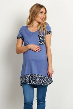 Put a little bit of feminine flair in your closet with this maternity top. A solid short sleeve top for the warm days ahead and a fierce leopard print accent for style. Wear this top with a dark wash jean and boots for a chic ensemble.