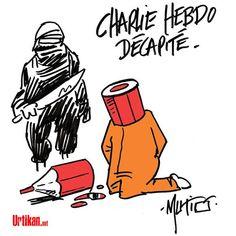 Dessin de Mutio en hommage à l'équipe de charlie hebdo assassinée mercredi 07 janvier 2015