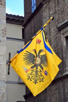 Siena: la bandiera della Contrada dell'Aquila in Piazza Postierla, Italia (13-08-10)