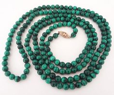 Long malachite bead necklace #ebay #elegantkb