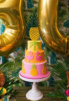 Fabulous Aloha Themed Birthday Party by Perfectly Sweet : beautiful cake Flamingo Party, Flamingo Cake, Flamingo Birthday, Luau Birthday, 30th Birthday Parties, Pink Flamingos, Birthday Cakes, Aloha Party, Luau Party