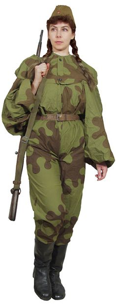 Red Army woman sniper 1942-45 in two-piece amoeba camouflage suit.