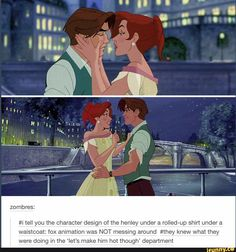 zombres tell you the character design of the henley under a rolled-up shirt under a waistcoat fox animation was NOT messing around knew what they were doing in the let s make him hot though department popular memes on the site Disney Magic, Disney Pixar, Disney E Dreamworks, Disney Memes, Disney Cartoons, Walt Disney, Disney Films, Dimitri Anastasia, Anastasia Movie