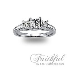 Faithful Lab Diamond Engagement ring - Classical three stone ring with Princess cuts elegantly accented with micro pavé small round stones on the shank. $1075.00 - http://www.lab-diamonds.com/engagement-rings/three-stone-rings/faithful-lab-created-engagement-ring.html