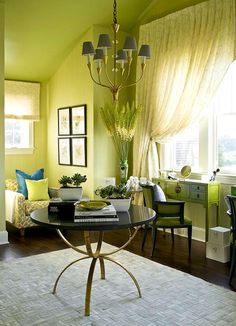 This showhouse dressing room looks much bigger with an electric green color scheme of apple-green and bright chartreuse - Traditional Home® / Photo: John Bessler & Squire Fox / Design: Kat Burki Traditional Home Magazine, Bedroom With Sitting Area, Green Color Schemes, Green Palette, Green Rooms, Colorful Furniture, Traditional House, Living Spaces, Living Rooms