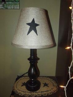 Primitive Black Lamp & Black Star Shade  Country Farm Decor #NaivePrimitive