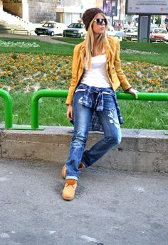 like a boy  , Miss Sixty in Jackets, Dolce & Gabbana in Jeans, Timberland in Boots, H in T Shirts