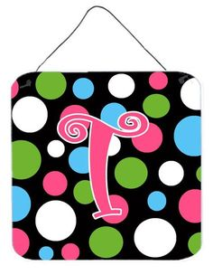 Letter T Initial Monogram - Polkadots and Pink Wall or Door Hanging Prints