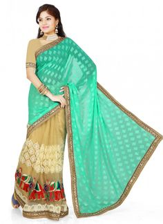 Compelling Green and Beige Net Brasso Classic Saree